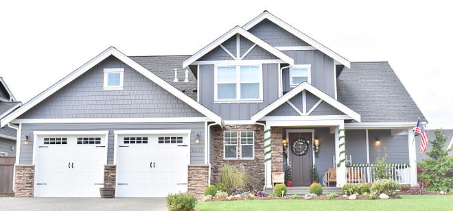 Grey Exterior Paint Color Blue Grey Exterior Paint Color PPG Grey Tabby #greyexterior #paintcolor #PPGGreyTabby Home Bunch's Beautiful Homes of Instagram