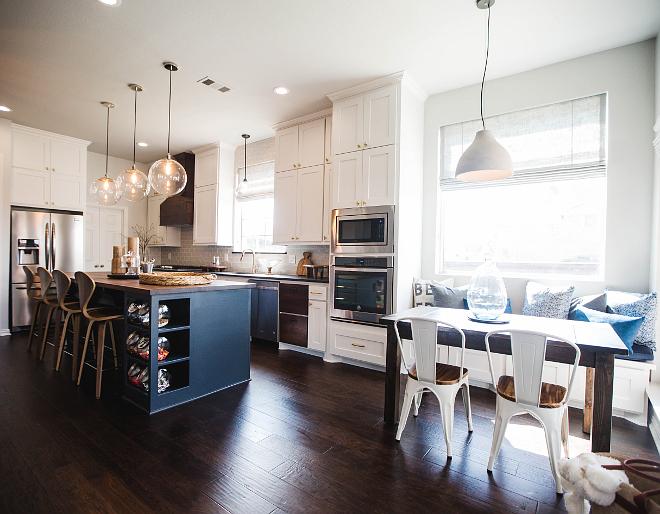 White Kitchen With Navy Blue Island Home Bunch Interior Design Ideas