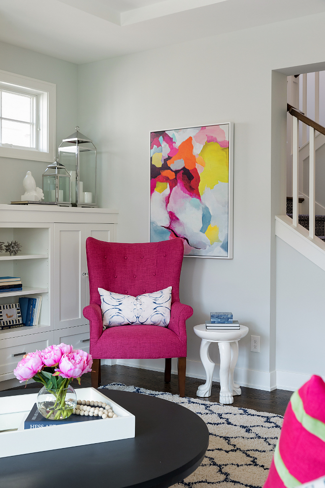 Magenta Chair Magenta Accent Chair Magenta Chair against a light grey wall