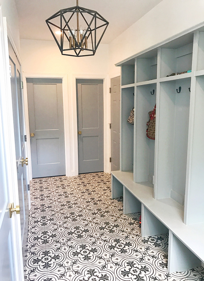Merola Tile Mudroom with Patterned Merola Tile Patterned Merola Tile Patterned Merola Tile #PatternedMerolaTile #MerolaTile #patternedtile