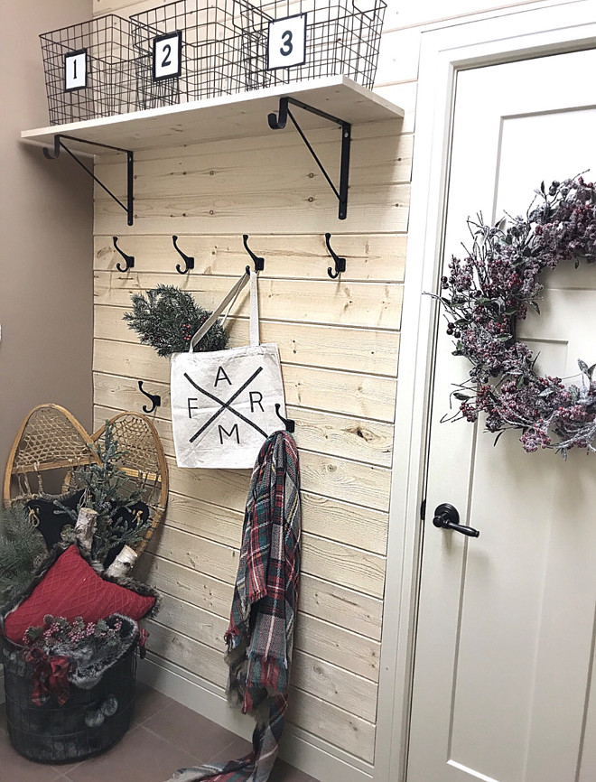 Mudroom features a natural DIY pine shiplap wall DIY pine shiplap wall Mudroom features a natural DIY pine shiplap wall