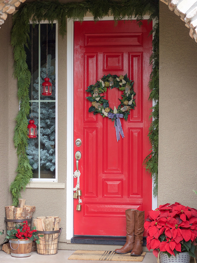 Red Door Paint Color This red front door is painted Show Stopper by Sherwin-Williams I read online somewhere that it was a tradition to paint the door red when the house was paid for Red Door Paint Color Red Door Paint Color #ShowStopperSherwinWilliams