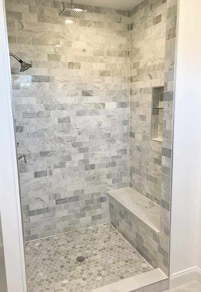 Shower Tile Shower Tile Ideas Shower floor is Carrara marble hexagon tile and walls are Carrara 3x6 subway tile Shower seat is a solid slab of Mont Blanc marble #shower #tile Home Bunch Beautiful Homes of Instagram