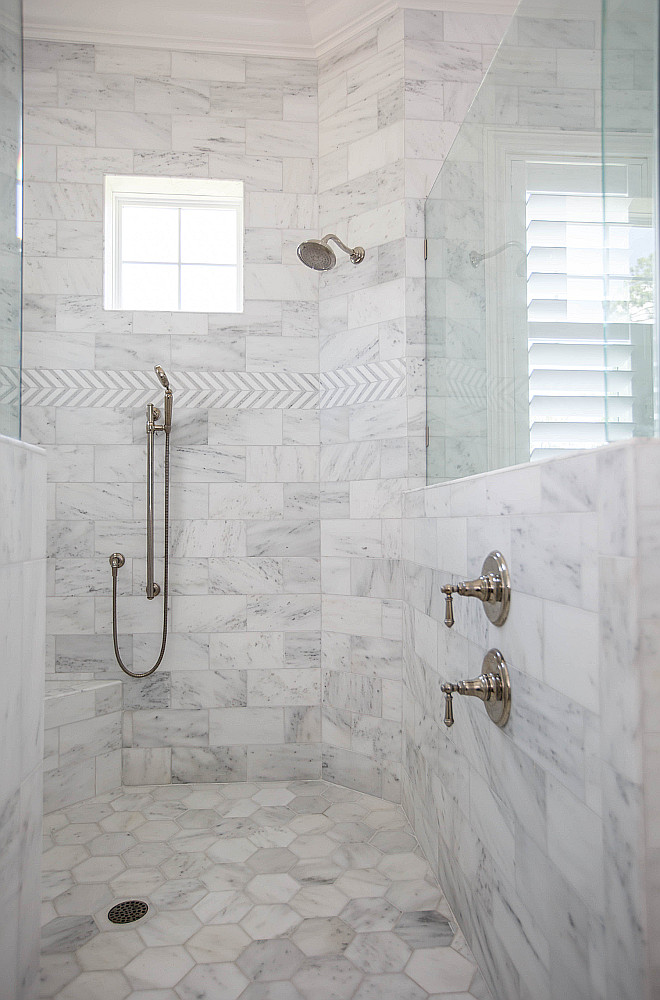 Shower Wall Tile Shower Floor Tile 6x6 Bianco Carrara Hexagon Honed