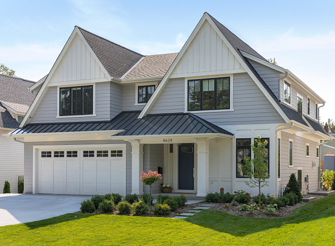 Siding color is trim is Benjamin Moore White Dove and the body color is Benjamin Moore Sabre Grey