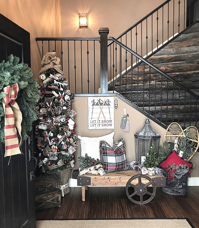 Ski lodge inspired foyer with rustic reclaimed barn wood shiplap Ski lodge inspired foyer with rustic reclaimed barn wood shiplap ideas Beautiful Homes of Instagram Home Bunch