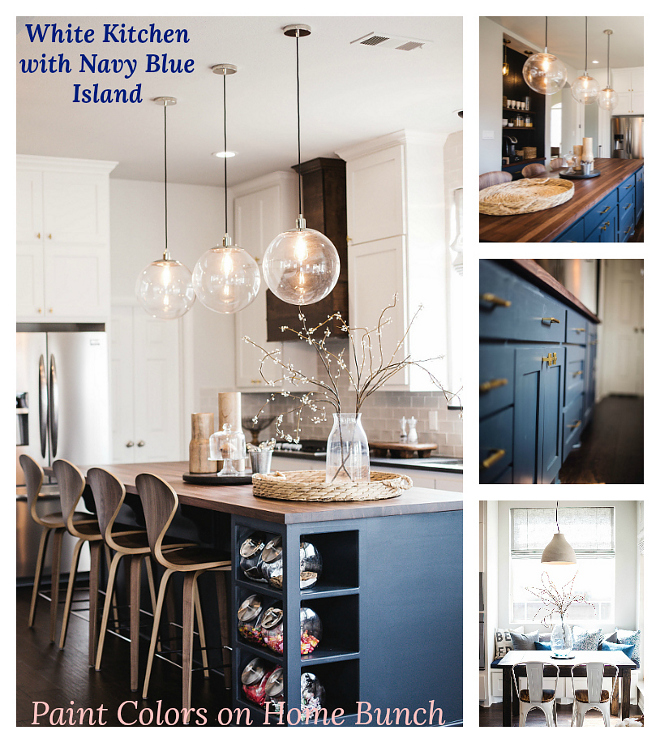 White Kitchen with Navy Blue Island All sources on Home Bunch