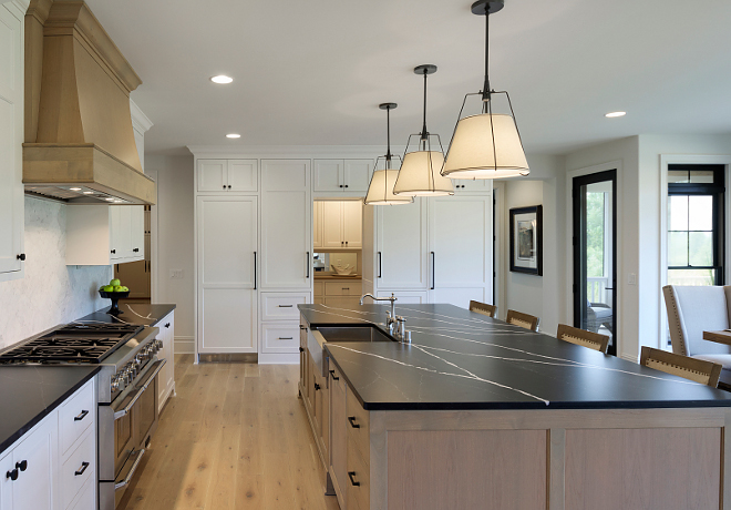 White kitchen with White Oak Island and White Oak Hood White kitchen with White Oak Island and White Oak Hood Ideas #Whitekitchen #WhiteOakIsland #WhiteOakHood
