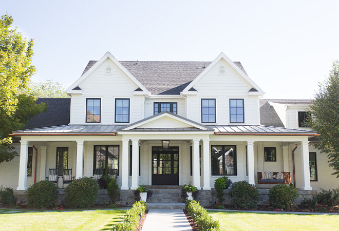 Benjamin Moore OC-17 White Dove White exterior paint color with black windows