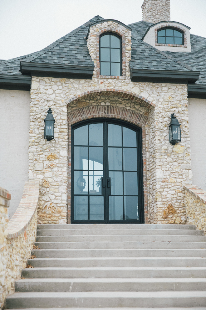 Black Steel and glass front doors- custom made glass front steel doors 10 foot tall
