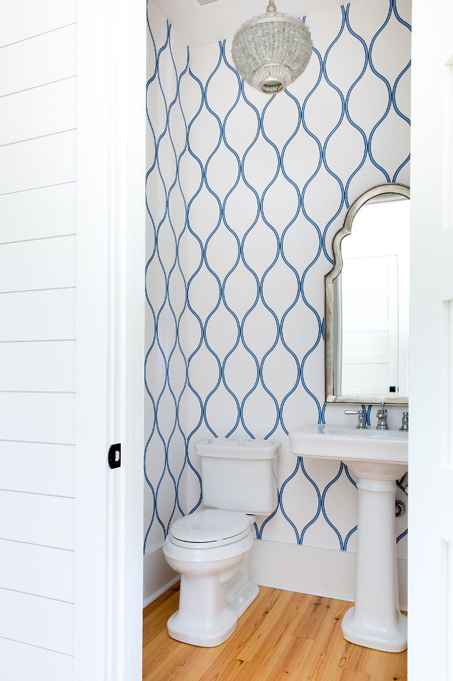 Blue and white Wallpaper Bathroom with blue and white wallpaper, coastal chandelier, Currey and Company Shoreline 1 Light Pendant with Harlow Silver Leaf/Seaglass, and pedestal sink