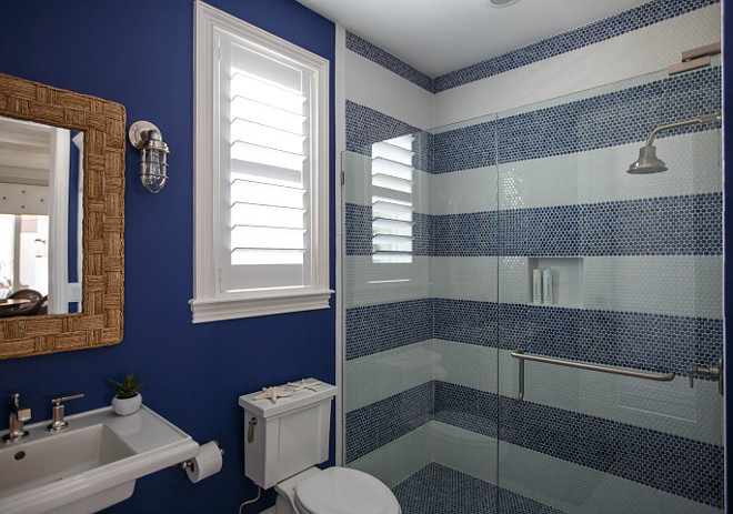 Blue and white bathroom with striped tile Blue and white striped tile Striped shower tile