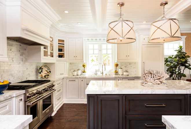 Classic Coastal Kitchen with tongue and groove coffered ceiling