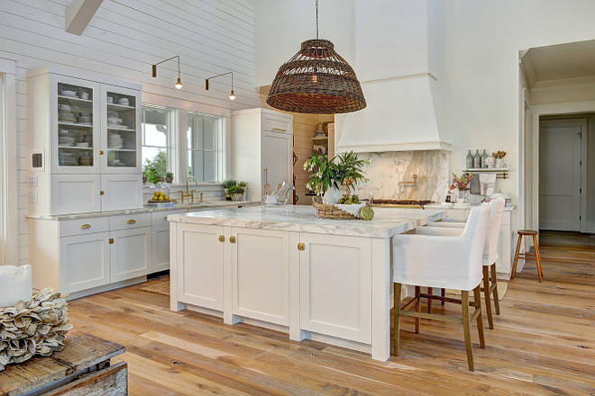White Beach Style Kitchen With Shiplap Home Bunch Interior
