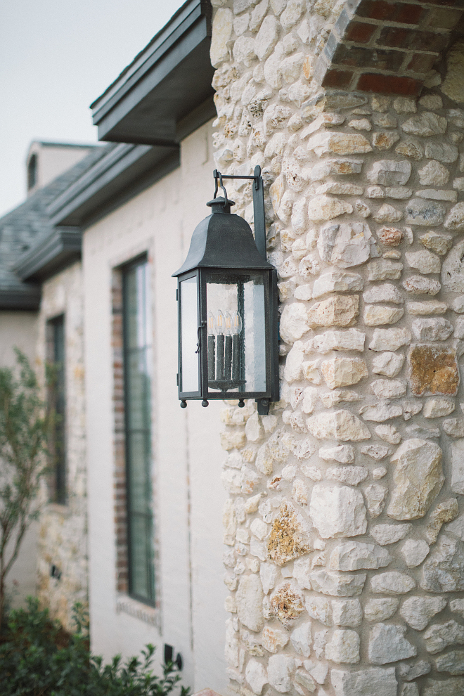 Front Lanterns are Troy Larchmont Lanterns in hand forged iron in age pewter finish