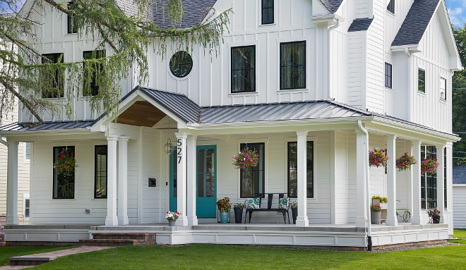 Front Porch Modern Farmhouse Front Porch Modern Farmhouse Front Porch Board and Batten farmhouse porch wrap around porch Siding is James Hardie Arctic White