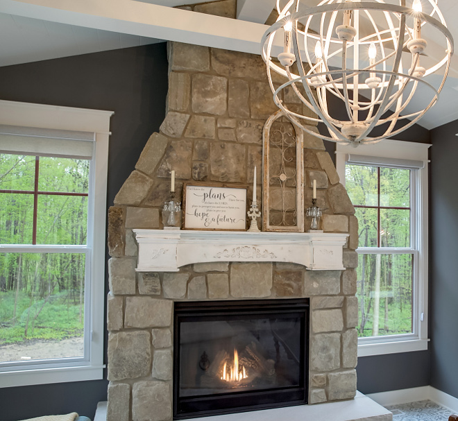 Full Height Stone with Tapered Chimney Design, Raised Hearth Full Height Stone with Tapered Chimney Design, Raised Hearth