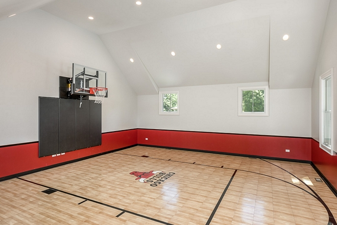 "Chicago Bulls Paint Colors Sport Court Paint Color - Upper walls / ceilings: Benjamin Moore Paper White OC 55. Black stripe / top of black 36"" from floor: Benjamin Moore Black Jack 2133-20. Under black stripe / Red Color: Benjamin Moore Caliente AF - 290"