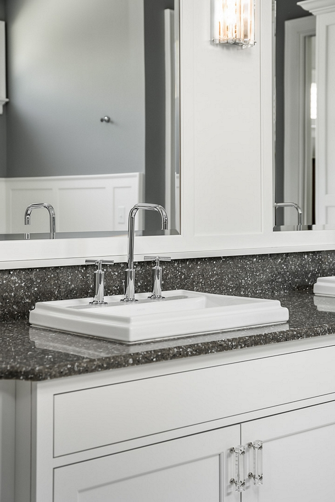 Grey quartz countertop bathroom