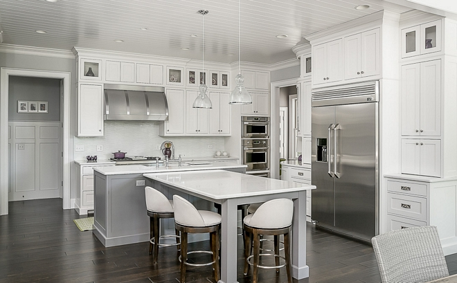 Benjamin Moore Paper white OC-55 The tongue and groove kitchen ceiling paint color is Benjamin Moore Paper white OC-55