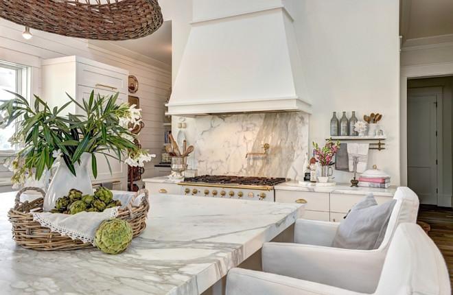 Kitchen Color Benjamin Moore White Dove to match the creamy white found on Calcatta Gold marble countertops