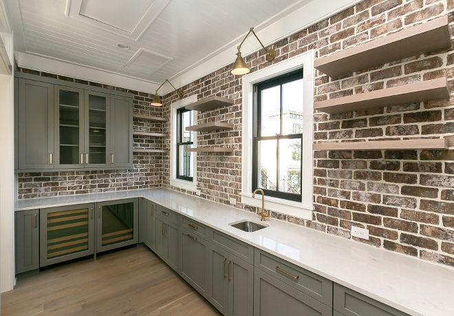 Kitchen Pantry Brick Backsplash Brick wall tile Old Savannah Brick Tile by Cherokee with snow white grout