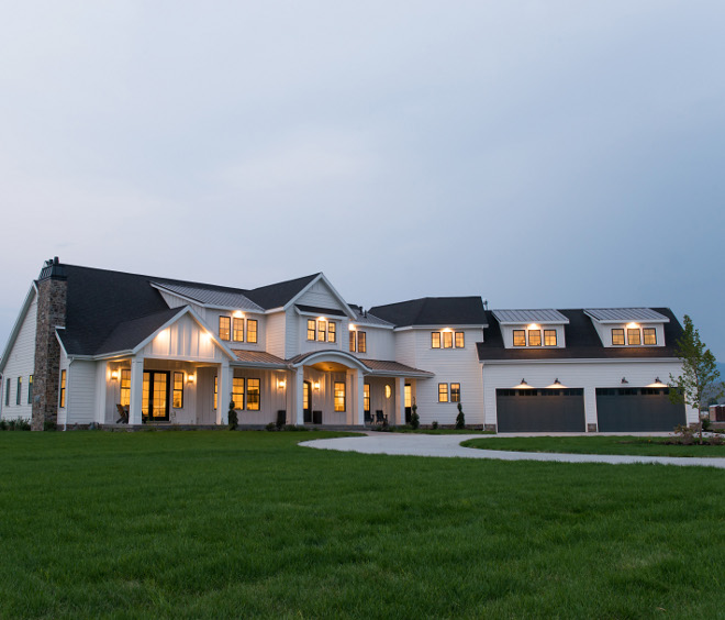 Modern Farmhouse Exterior Attached four car garage