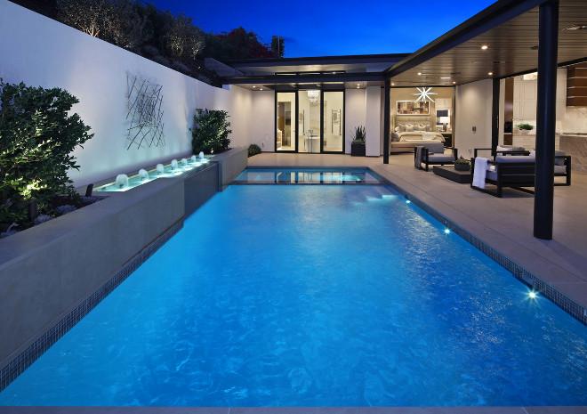 Small backyard with long narrow pool