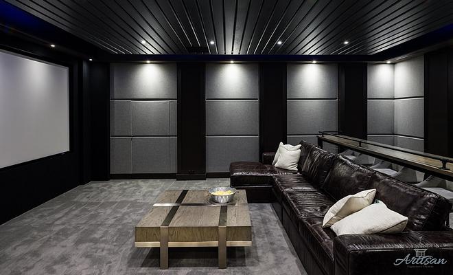 dark leather sectional dark leather sectional Media room with large dark leather sectional