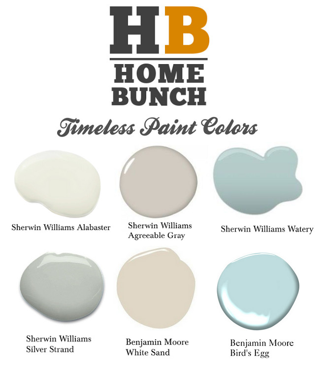 Timeless Paint Colors Color Palette Timeless Paint Colors Color Palette Sherwin Williams Alabaster Benjamin Moore Bird's Egg Sherwin Williams Agreeable Gray Sherwin Williams Watery Sherwin-Williams Silver Strand Benjamin Moore White Sand #TimelessPaintColors #ColorPalette