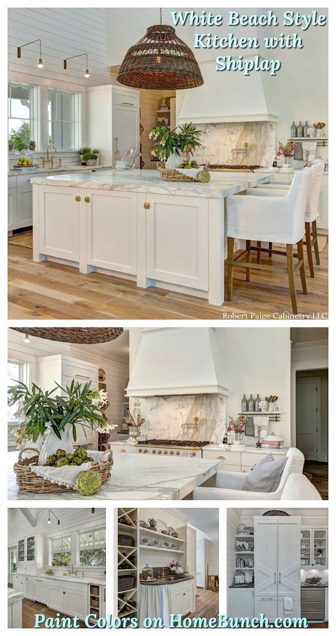 White Beach House Kitchen with shiplap