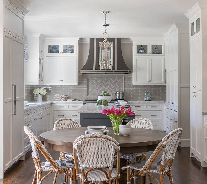 White Kitchen with Grey Backsplash White Kitchen with Grey Backsplash Tile by Walker Zanger