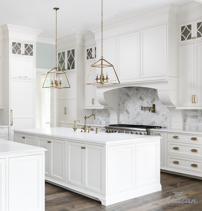 herringbone Marble Subway Tile Backplash Kitchen herringbone Marble Subway Tile Backplash Kitchen features Marble Subway tile in a herringbone pattern above range