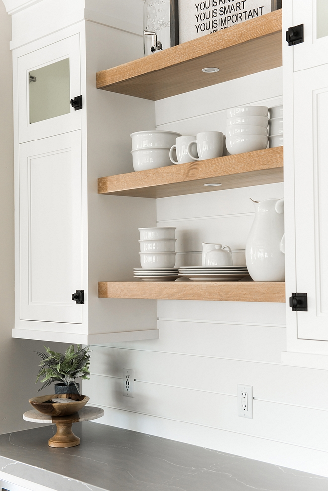 Kitchen Bar Cabinet with White Oak Floating Shelves and shiplap backsplash Kitchen Bar Cabinet with White Oak Floating Shelves Kitchen Bar Cabinet with White Oak Floating Shelves