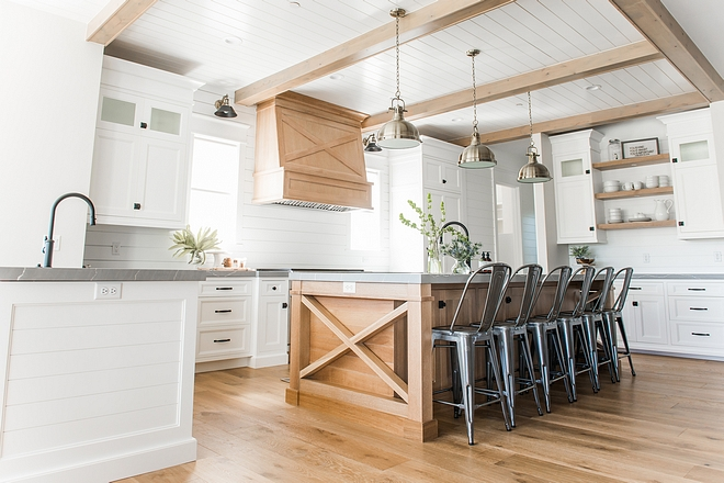 Kitchen ceiling features White Oak beams and tongue and groove