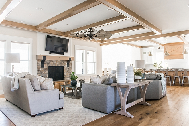 Family room white oak ceiling beam design ideas Family room white oak ceiling beam design Family room white oak ceiling beams
