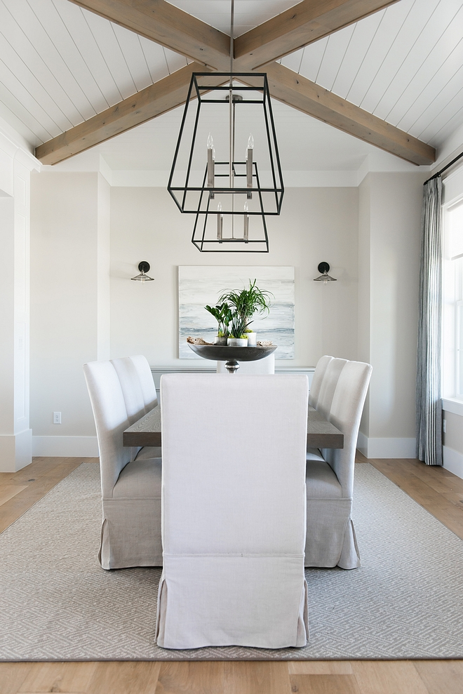 Dining room shiplap ceiling The foyer opens directly to a stunning dining room with crossed beamed ceiling and shiplap