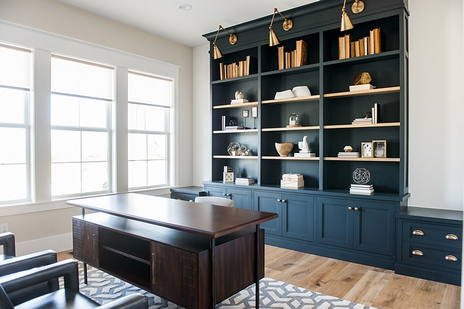 Home office navy bookcase paint color Home office navy bookcase paint color Home office navy bookcase paint color