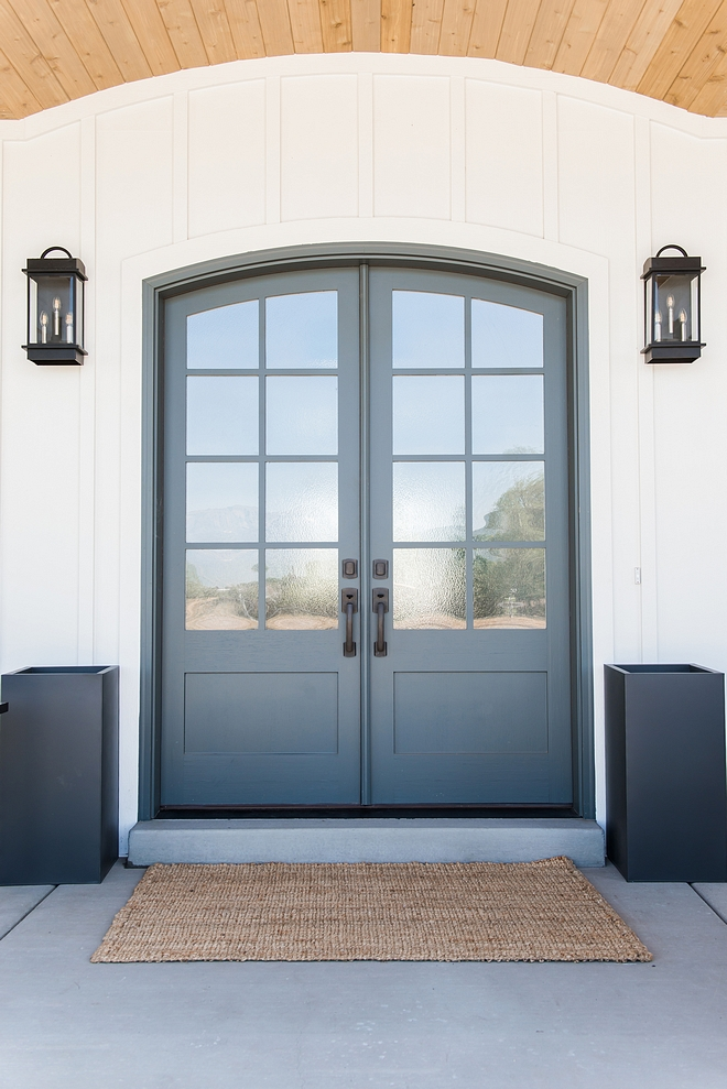 Charcoal Gray Front Door Paint Color Downpipe by Farrow and Ball