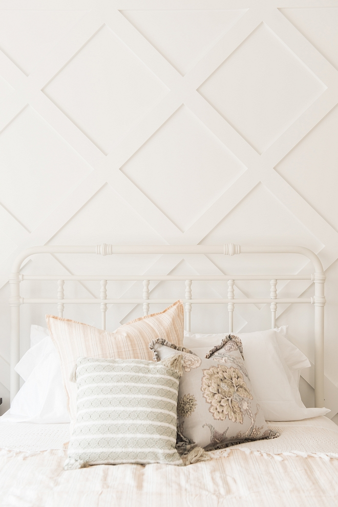 Benjamin Moore Chantilly Lace Diamond Grid Board and Batten pained in Benjamin Moore Chantilly Lace