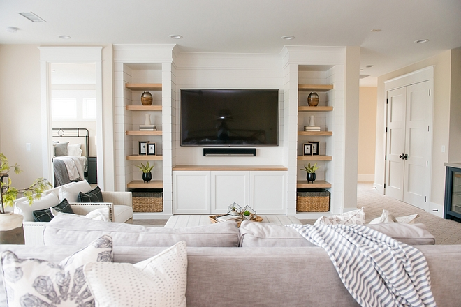 Family room built-in inspiration with shiplap and white oak floating shelves Family room built-in inspiration Family room built-in inspiration