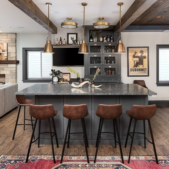 Transitional Farmhouse Bar with beams and reclaimed tongue and groove ceiling Bar Basement Beams Ceiling Reclaimed Wood