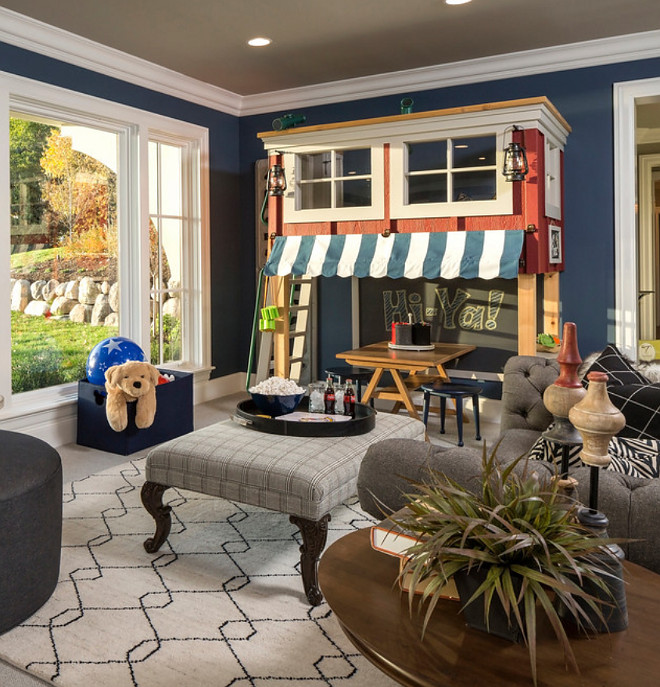 Van Deusen Blue by Benjamin Moore Paint Color Basement Family Room Van Deusen Blue by Benjamin Moore Van Deusen Blue by Benjamin Moore