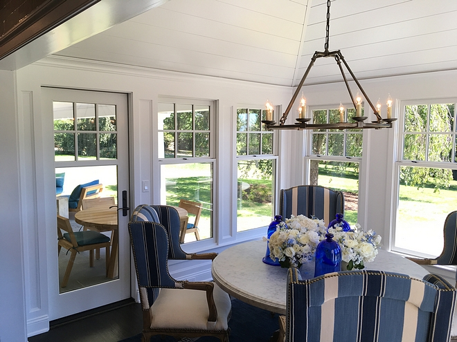 Breakfast nook opens to the back porch Breakfast nook doors Breakfast nook windows Breakfast nook