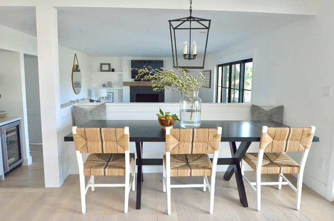 Breakfast room with shiplap banquette