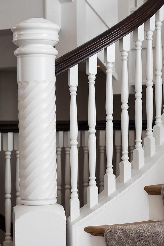 Chantilly Lace by Benjamin Moore Staircase Newel post and spindles paint color Chantilly Lace by Benjamin Moore Chantilly Lace by Benjamin Moore