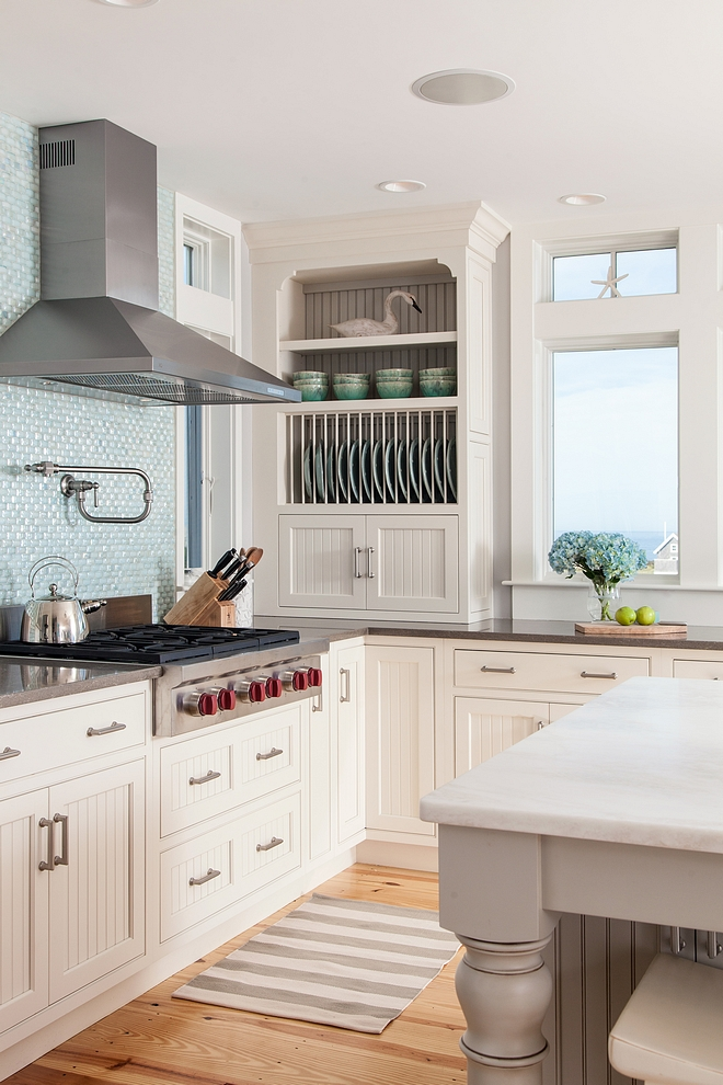 Kitchen cabinet Door Style Door-style Brunswick 231-B with Beadboard, Painted Maple, Beach White with slab top drawers and five-piece overlays on bottom drawers