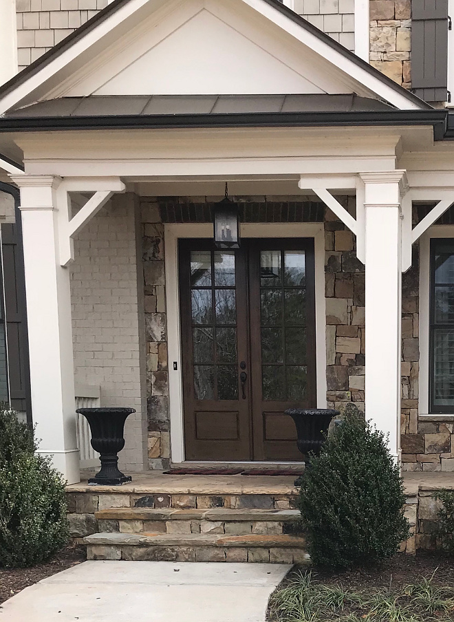 Dark stained wood door Front Door with Dark Walnut Stain