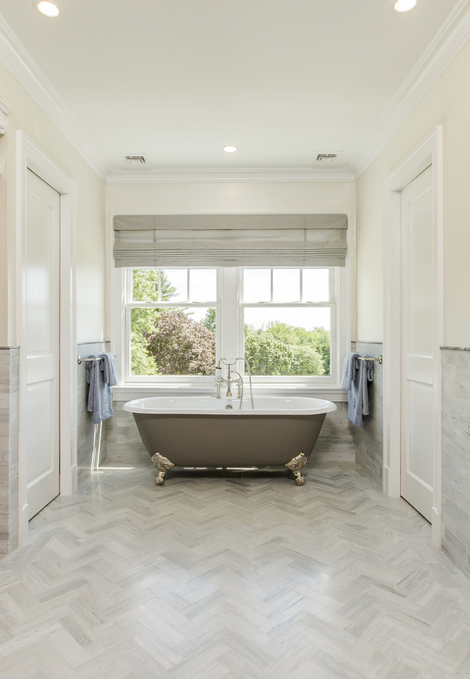 Grey Herringbone floor tile bathroom Honed Marble - Herringbone