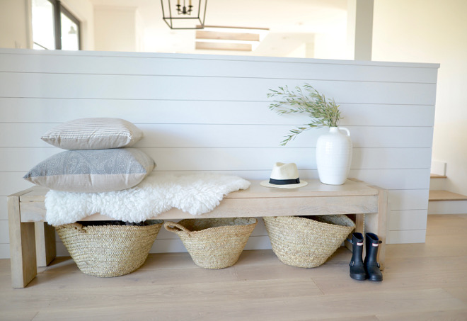 Shiplap entry with Farmhouse Bench Shiplap entry Farmhouse Bench ideas #Farmhouse #Bench #Shiplap #FarmhouseBench
